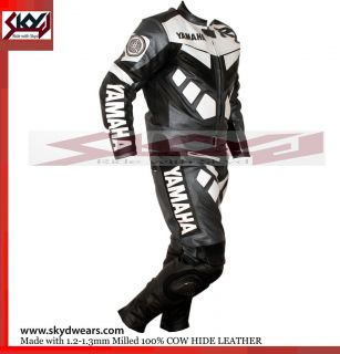 Yamaha Gray/Black Racing Leather Motorcycle full suit  All Sizes