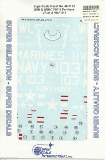 48 SuperScale Decals F9F 2 Panther VF 31 VMF 311