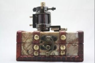 TOP Black Alloy Rotary Tattoo Machine MOTOR SHADER Gun kit+wood box