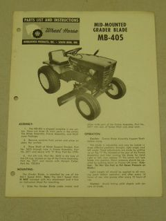 1964 WHEEL HORSE TRACTOR MB 405 MID MOUNT GRADER BLADE PARTS LIST