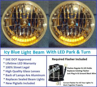 Icy Blue Headlights Park Turn Signal Lights 10 LEDs Hot Rod Rat Rod