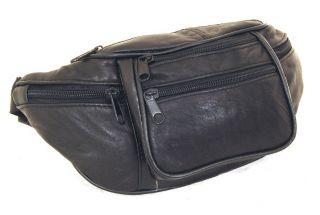 Leather Fanny Pack Waist Bag Adjustable 6 Pockets Adjustable strap up