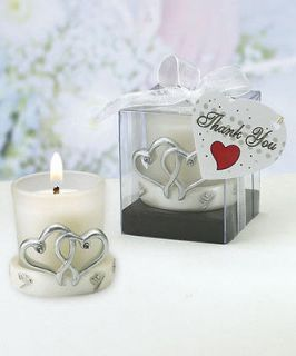 200 Interlocking Silver Hearts Glass Votive Candle Wedding Party Favor