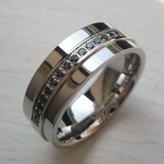 MENS 8MM STAINLESS STEEL COMFORT FIT BAND RING GENUINE BLACK DIAMONDS