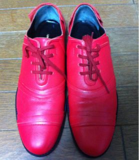 comme des garcons red leather shoes 2011 s s