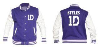 Personalised 1D Direction Varsity Baseball Jacket New One Name on Back