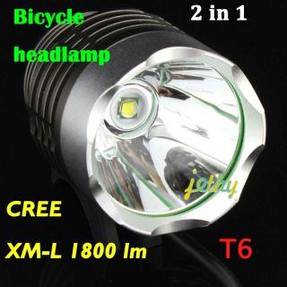 1800 Lumen CREE XML T6 LED Bicycle bike Head Light Lamp Flashlight