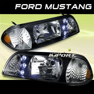 1987 1993 Ford Mustang LX GT Black LED Headlights w Amber Reflector