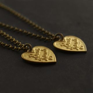 vintage BEST FRIENDS heart necklaces . charm chain pair friendship