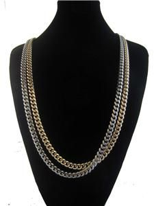 Chainz 30 Gold Silver Chain Necklace Cuban Link Kanye jayz Hip Hop
