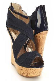 New Qupid Bikini 213 Denim Criss Cross Wedge Platform Open Toe Sandals