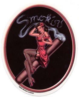 50 s pinup girl smoking a cigar vinyl sticker decal