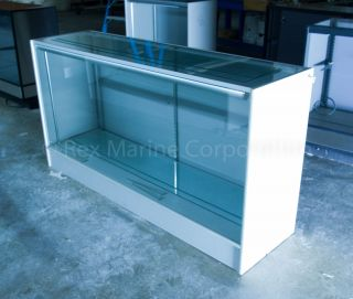 Glass Showcase Display Case 6 foot long, Lighted, w Glass Shelves