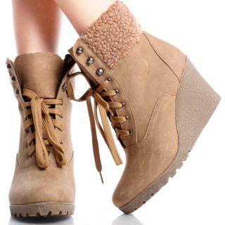 Beige Lace Up Winter Faux Fur Trim Women Platform Wedge Boots Shoes
