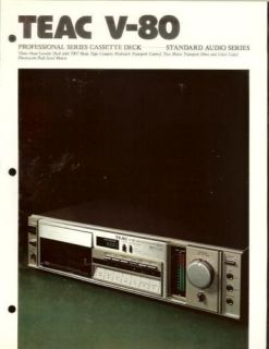 Teac V 80 Tape Deck Dealer Brochure Manual
