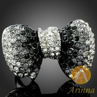 ARINNA Bowknot Cool Finger Ring Black Change White Gold Plated
