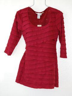 78 Max Studio Large 12 14 Garnet Ruffle Layer Long Tunic Blouse Shirt