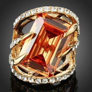 ARINNA Hand Clasp Shape Fashion Finger Ring Yellow Gold GP 18K