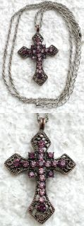 AMETHYST COLOR RHINESTONE CRYSTAL CROSS PENDANT NECKLACE C666