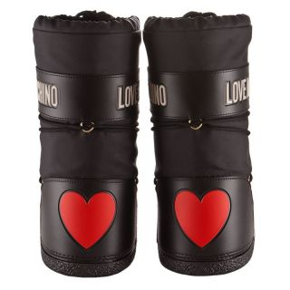 Love Moschino Woman Winter Boots Black with Heart and Logo New Best