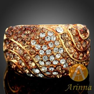 ARINNA Smoked Topaz Fashion Finger Ring Yellow Gold Plated GP