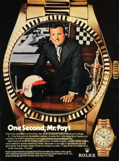 1974 Ad Rolex Wrist Watches A.J. Foyt Famous Car Racer   ORIGINAL