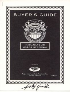 Smokey Yunick Signed A J Foyt Auction Buyers Guide Indy 500