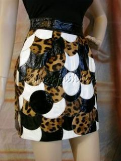 3550 New Dolce Gabbana Brown Black White Leather Pony Hair Fur Skirt
