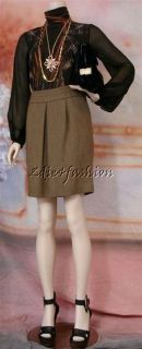 605 New with Tags ETRO Beautiful Brown Olive Green Pleat Wool Cotton
