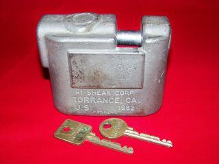 Complete Medeco Hi Shear High Security Padlock Keys Torrance