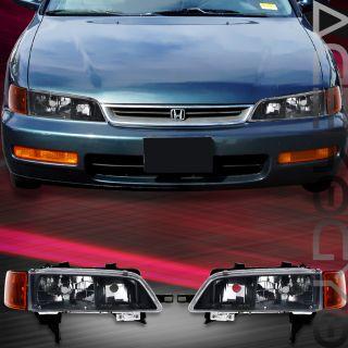 1994 1995 1996 1997 Honda Accord Black Head Lights Turning Signal