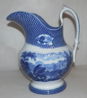 VERY RARE Wash Basin PITCHER & BOWL Blue & White ADAMS Birds