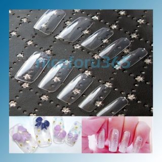 Approx 500 Clear French Acrylic Artificial Full Cover Fake False Nail