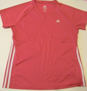 Adidas Active Top Red V Neck Short Sleeve Shirt Womens L