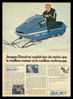 1970 Sno Jet s s Jet Snowmobile French Ad Jacques Duval