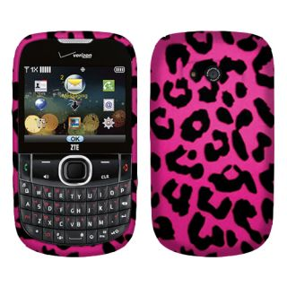 For Verizon ZTE F450 Adamant Phone Leopard Hot Pink 2D Texture Hard