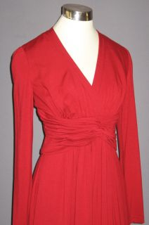 Adrianna Papell Red Knotted Jersey Knit L s Dress