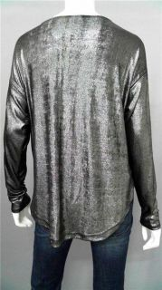 The Addison Story Misses PXS Metallic Shirt Top Silver Long Sleeve