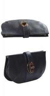 Classic Black Grainy Buffalo Leather Adelphi Clutch Handbag Purse NEW