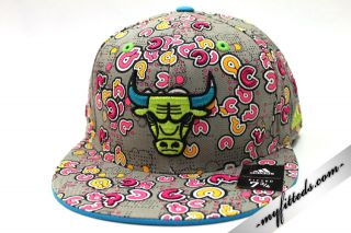 Adidas Chicago Bulls Fitted Cap Grey Pink New