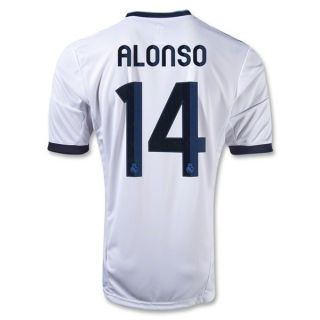 Adidas Xabi Alonso 14 Real Madrid Home Soccer Jersey 2012 2013 White