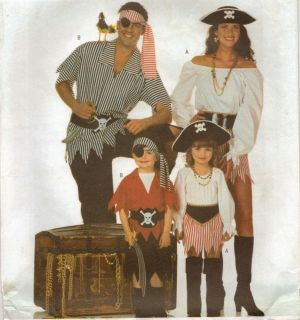 Adult Mens Pirate Misses Wench Halloween Costume Pattern S6 22 XS XL
