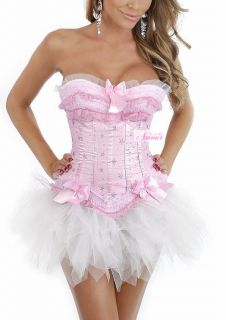 Sexy Pink Fairy Costume Moulin Rouge Corset Tutu Skirt