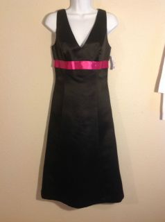 NWT After Six Knee Length Prom Formal Cruise Dress Hot Pink Black 8