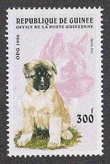Dog Art Full Body Head Portrait Postage Stamp Akita Inu Puppy Guinea
