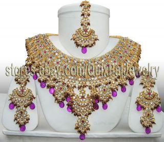 Indian Bridal Jewelry Jodha Akbar Set 921 Violet Earrings Maang Tikka