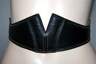 Vintage ALAIA   PARIS Black Leather w/Cutouts & Studs Designer Belt Sz