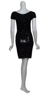 Aidan Mattox Dazzling Black Sequin Cocktail Dress 8 New