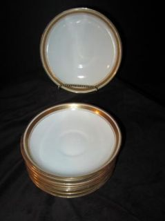 DEEP SAUCER BOWLS GOLD GREEK KEY BAND ROYAL ALBERT CROWN CHINA ENGLAND
