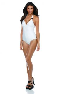 Kollection White Buckle Halter One Piece Swimsuit Size Small
